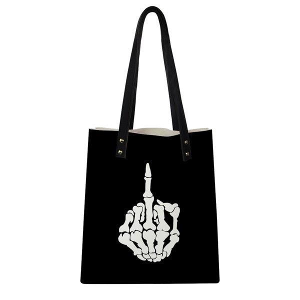 Bad-Ass Skeleton Middle Finger Tote Bag