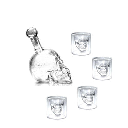 Doomed Skull Head Shot Glass With Skull Bottle