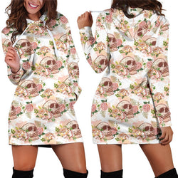 Floral Skull Hooded Dress S-3XL Women Autumn/Winter 2018