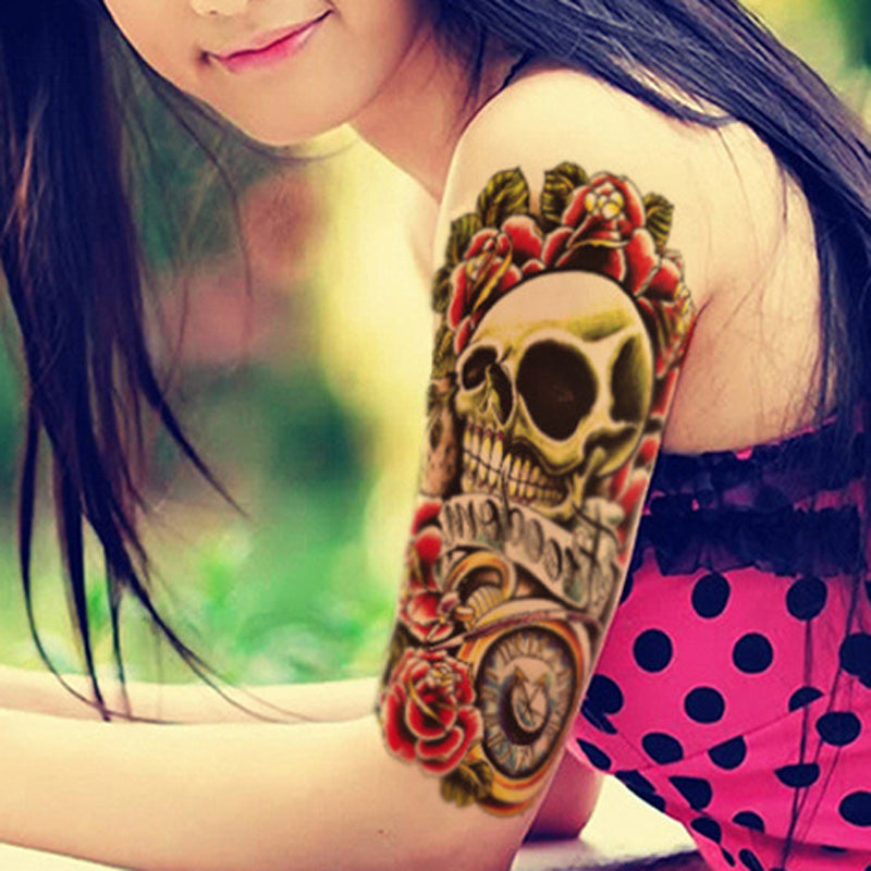Sexy Skull and Flower Waterproof Large Temporary Tattoo