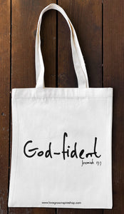 God-fident Jeremiah 17:7 | Tote Bag