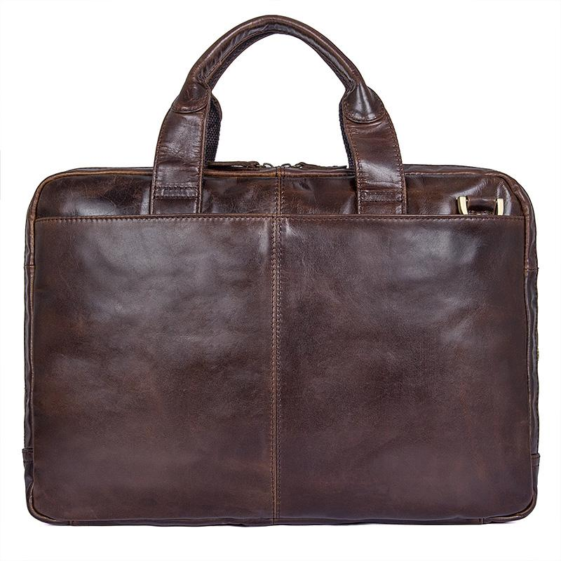 Clean Vintage Leather Business Briefcase for Men | 15-Inch Laptop Messenger Bag, Brown