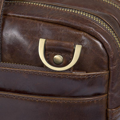 Apparel - Clean Vintage Leather Business Briefcase For Men | 15-Inch Laptop Messenger Bag, Brown