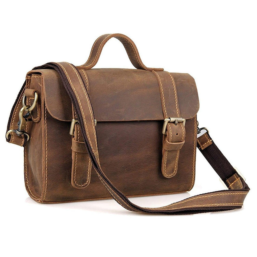 Clean Vintage Leather Sling Shoulder Messenger Bag Men Women