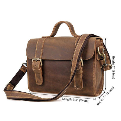 Clean Vintage Leather Sling Shoulder Messenger Bag Men Women - Clean Vintage