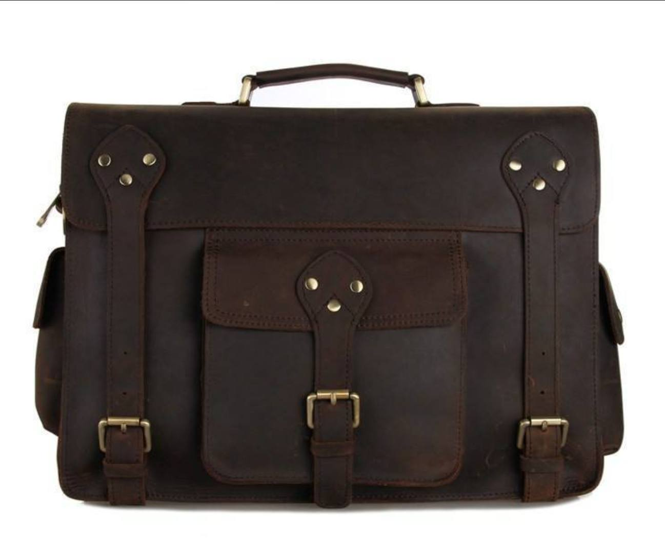 bdd289e689 Clean Vintage Mens  Genuine Leather Briefcase Messenger Bag- Fits 13 Inch  Laptops - Clean