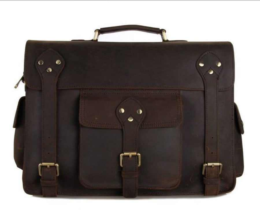 Clean Vintage Mens' Genuine Leather Briefcase Messenger Bag- Fits 13 Inch Laptops