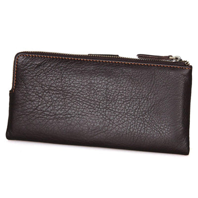 Apparel - Leather Purse Travel Card Case Long Wallet Clutch Phone Bag- Leather Brown Pouch