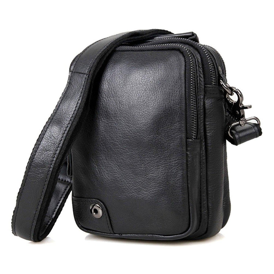 Mens' Leather Cross Body Shoulder Sling Messenger Bag- Clean Vintage