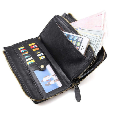 Zip Wallet Wristlet Clutch Purse Travel iPhone Case- Clean Vintage Italian Leather Wallet for Men Women (Black) - Clean Vintage