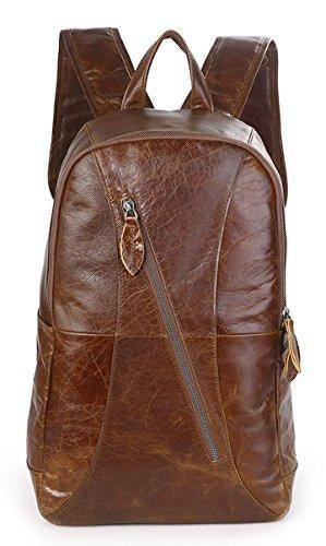 Clean Vintage Brown School College 15.6-Inch Laptop Bag Leather Backpack for Men