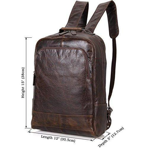 Clean Vintage Laptop Bag 15.6-Inch Leather Backpack for Men College Dark Brown