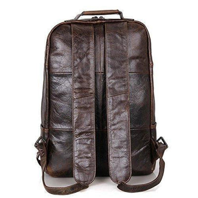 12210d2a354 Clean Vintage Laptop Bag 15.6-Inch Leather Backpack for Men College Dark  Brown - Clean