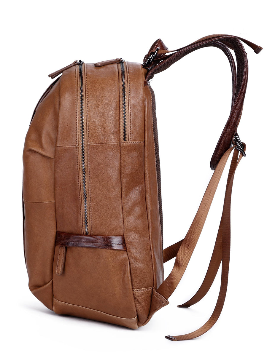"Men's Leather Backpack Big Capacity College - Fits 15.6""/17.4"" Laptops"