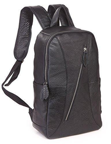 Leather Backpack, Clean Vintage 15.6-inch Computer Bag Large Travel College Business Backpack Rucksack Italian Leather Bags for Men Black - Clean Vintage