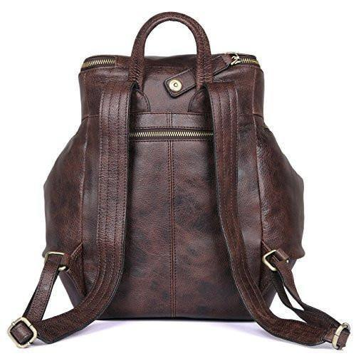 Leather Backpack, Clean Vintage Daypack Hiking Travel Leather Bag