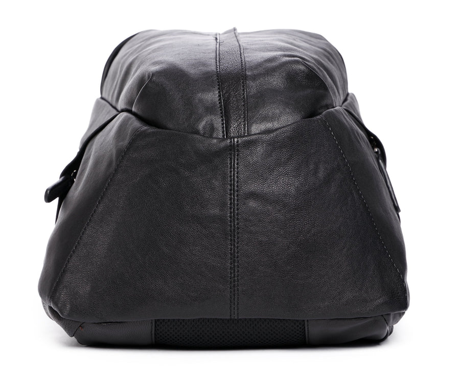 Men's Leather Backpack Rucksack- Black- Clean Vintage