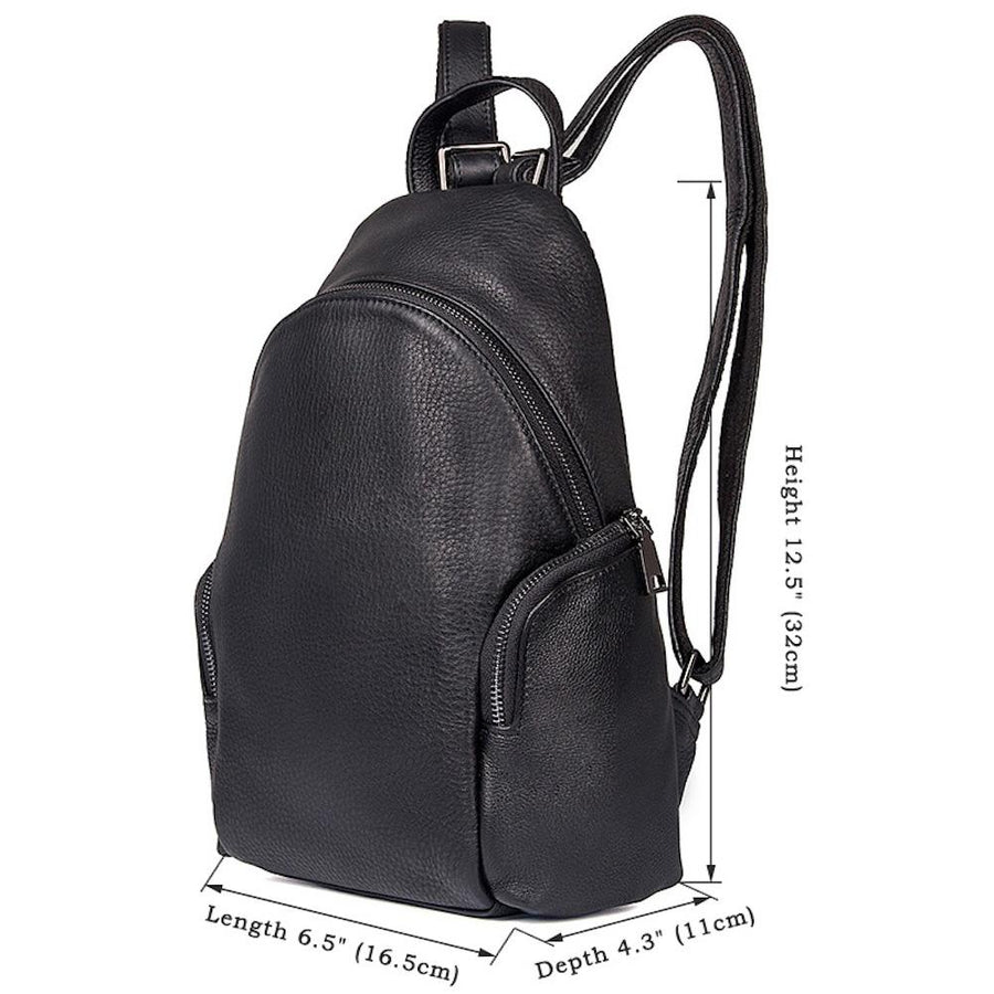 Small Backpack Purse for Women Genuine Leather Black - Clean Vintage