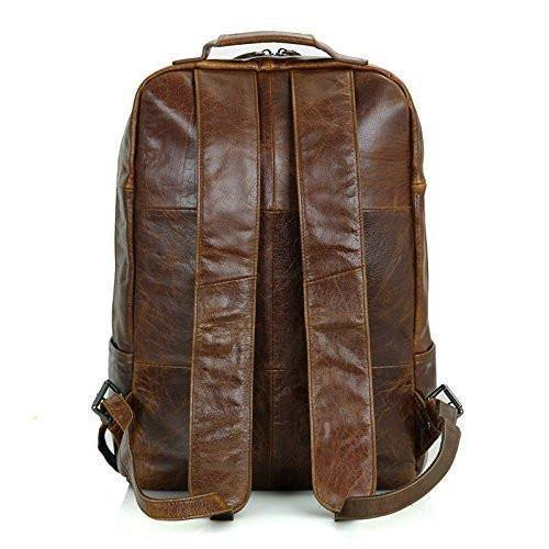 Clean Vintage Laptop Bag 15.6-Inch Leather Backpack for Men College Brown