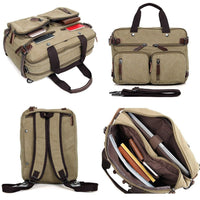Clean Vintage Convertible Bags - Briefcase Backpack Messenger Bag- Waxed Canvas Khaki Convertible Laptop Backpack Messenger Bag Clean Vintage Best Seller Black Canvas College Convertible convertible laptop backpack messenger bag Hybrid MacBook Pro 13 inch Streetwear Vintage