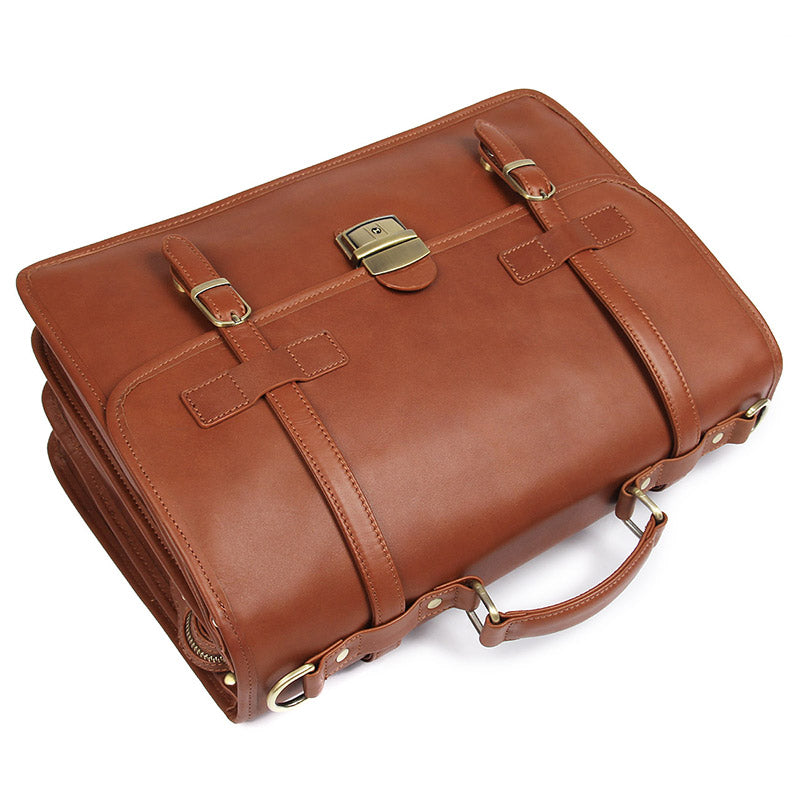 Laptop Bags, Real Leather Multi Pockets Briefcase for Businessmen - Clean Vintage