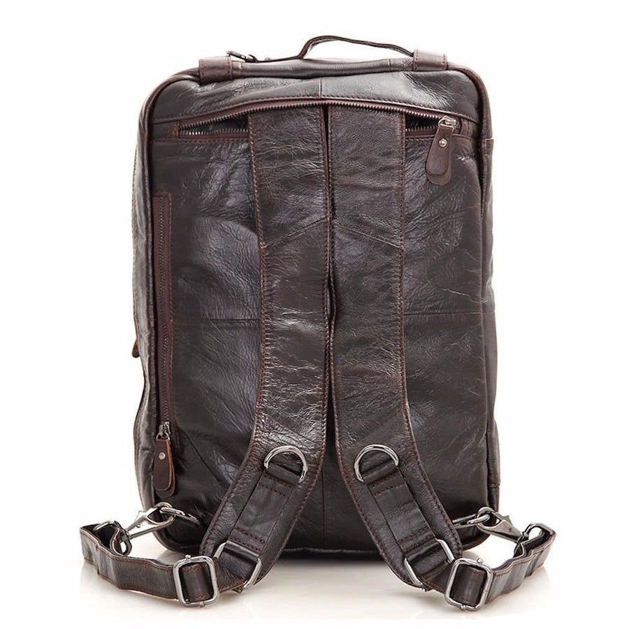 Clean Vintage Backpack Briefcase Messenger bag- Leather- Brown- Fits 15 Inch Laptops - Clean Vintage
