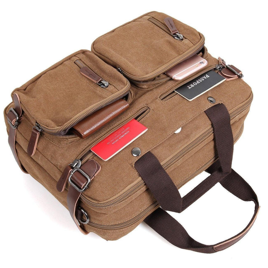 Convertible Laptop Backpack Messenger Bag - Clean Vintage Convertible Bags Briefcase Backpack Messenger Bag For Men Women- Laptop Bag Canvas Brown