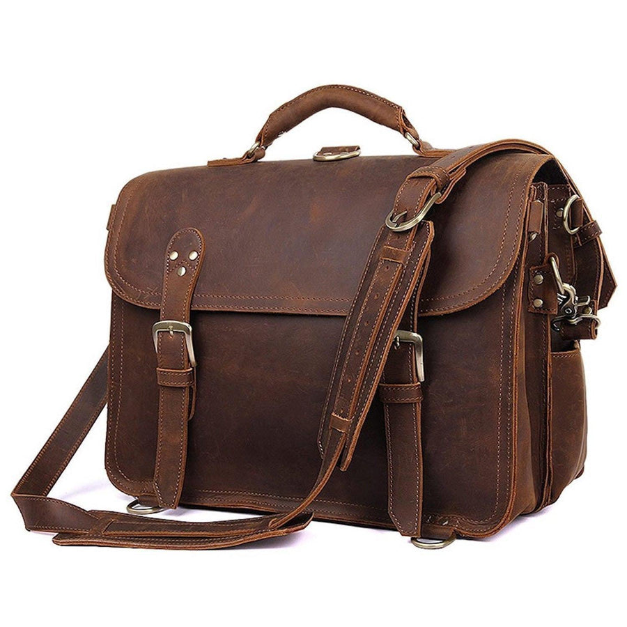 Convertible Briefcase Backpack Saddle Leather - Clean Vintage