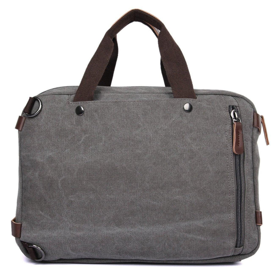 Messenger Bag Backpack | Convertible Canvas Leather Laptop Bag for Men/Women- Grey - Clean Vintage