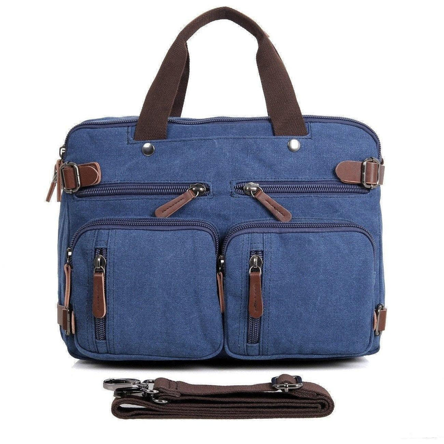 Messenger Bag Backpack | Convertible Canvas Leather Laptop + Travel Bag for Men/Women - Clean Vintage