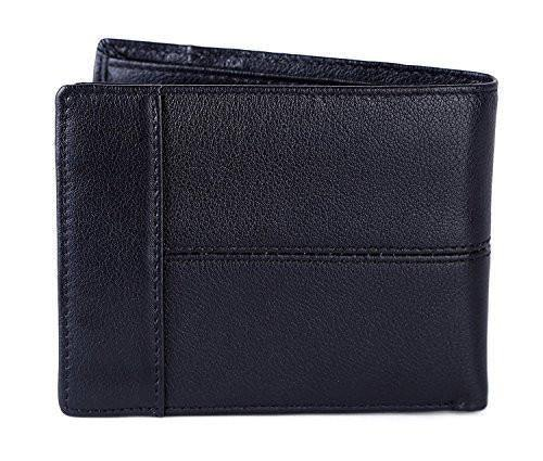 Crazy Horse Leather Wallet Bifold Trifold Old School Extra Cacapcity Wallet for Men with ID Slot Coins Pocket (Black) - Clean Vintage