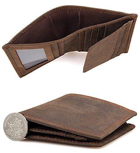 Crazy Horse Leather Wallet Bifold Trifold Old School Extra Capacity Wallet for Men with 2 ID Slots - Clean Vintage