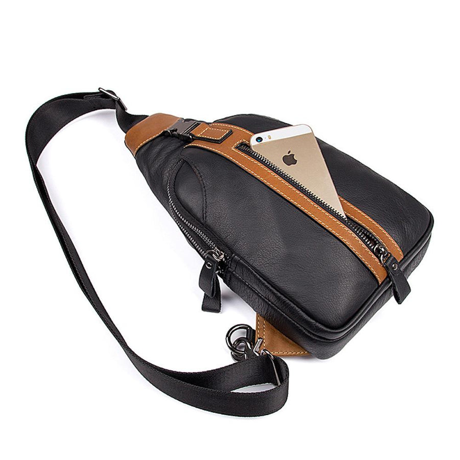 Clean Vintage Men's Retro Genuine Leather Sling Multi Pockets Bag- Day Pack Shoulder Bag - Clean Vintage
