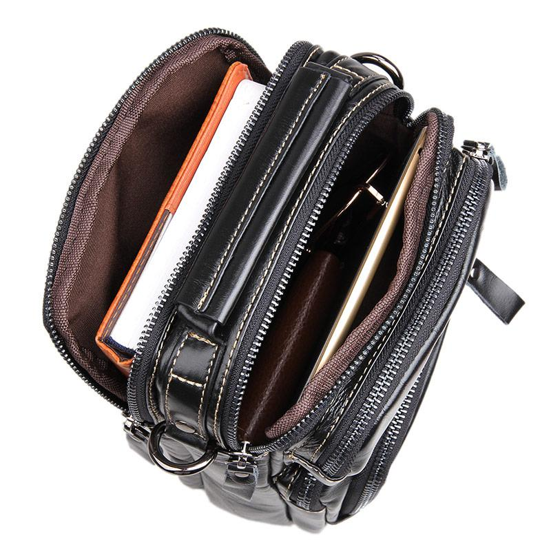 Clean Vintage Black Leather Crossbody Purse Handbag Sling Shoulder Bag for Men - Clean Vintage