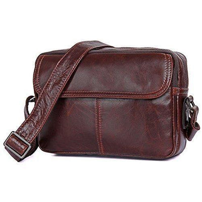 Crossbody - Small Brown Leather Bag, Carry-All Messenger Bag- Day Pack Travel- Fits IPad Mini, Clean Vintage