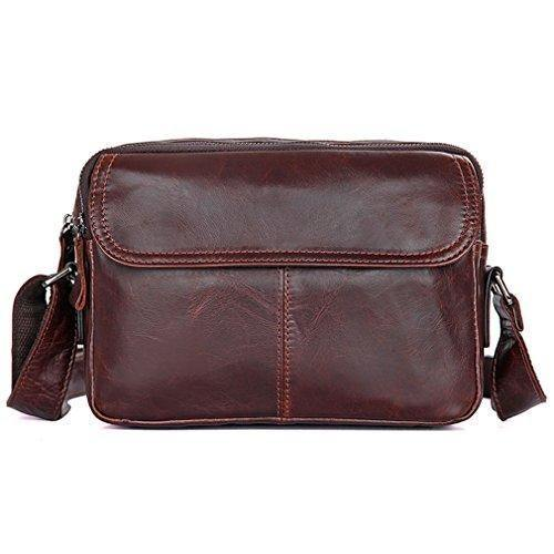Small Brown Leather Bag, Carry-All Messenger Bag- Day Pack Travel- Fits iPad Mini, Clean Vintage
