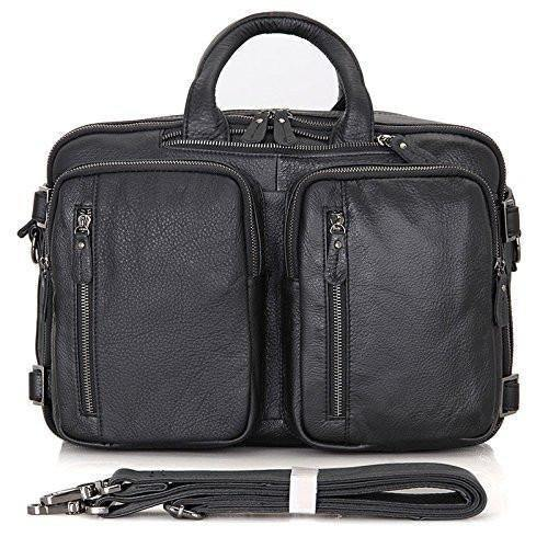 Convertible Briefcase Backpack Satchel Men Leather Black