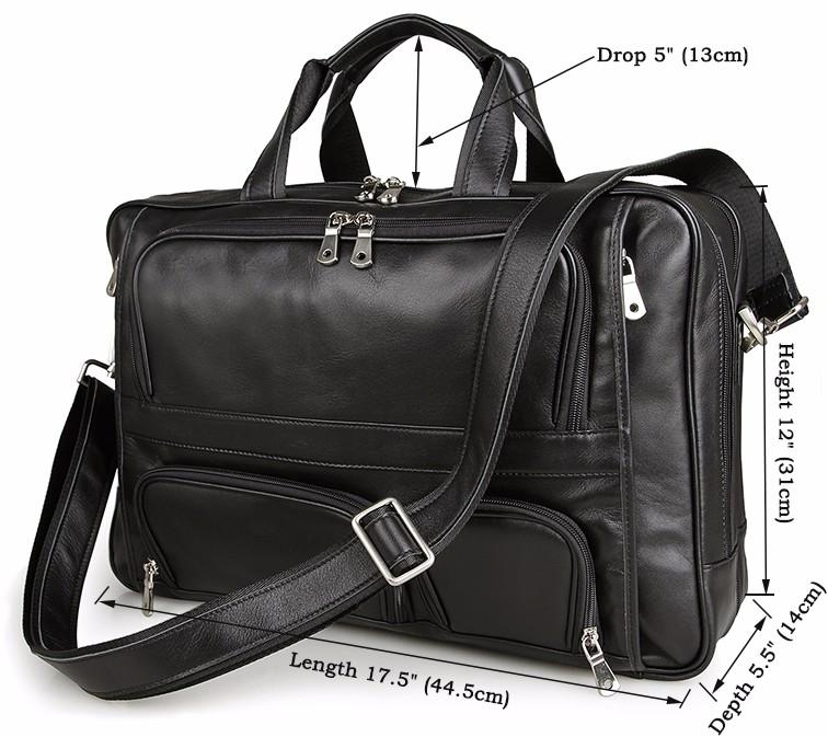 Men's Briefcase Laptop Bag Mens Business Bag 48h Expandable Travel Brief Leather Black