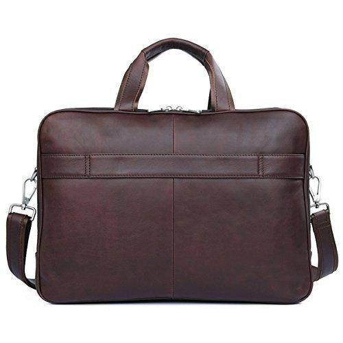 Men's Briefcase Laptop Bag Mens Business Bag 48h Expandable Travel Brief Leather Brown