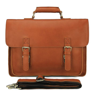 "Leather Briefcase - Men's Office Bag Messenger Vintage Leather Briefcase- Fits 15"" Laptops"
