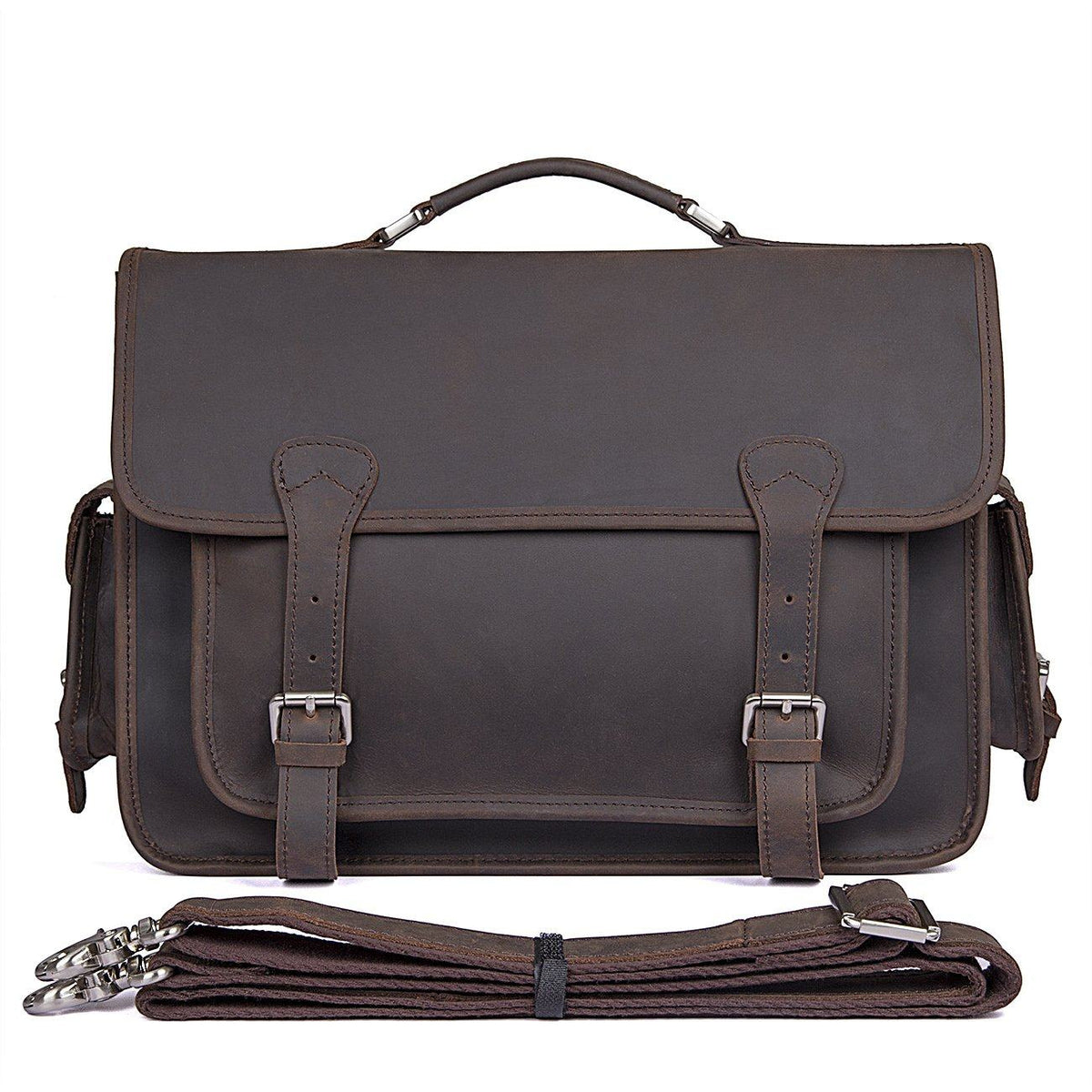 Leather Briefcase - Saddle Leather Briefcase, Rustic, Vintage
