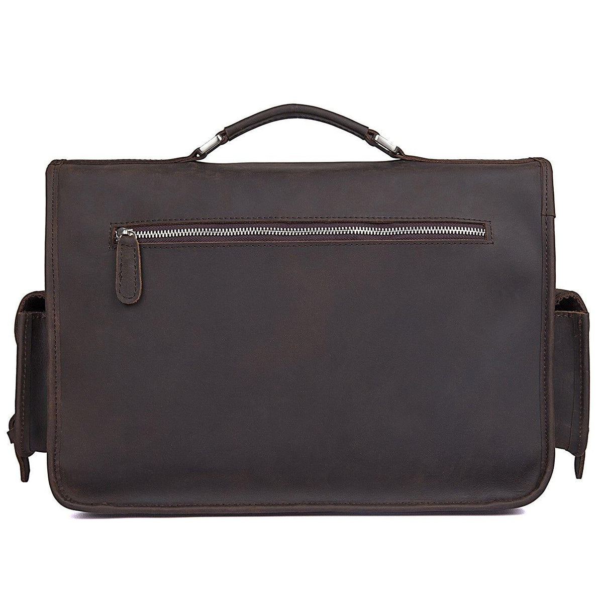 Saddle Leather Briefcase, Rustic, Vintage - Clean Vintage