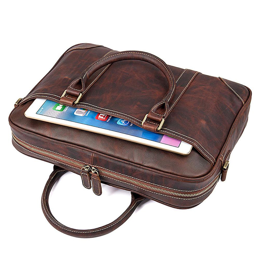 Slim Retro Leather Briefcase for Men Brown