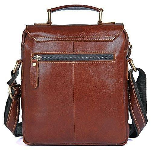 Mens' Leather Cross Body Shoulder Briefcase Messenger Bag Brown- Clean Vintage