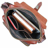 Mens' Leather Cross Body Shoulder Briefcase Messenger Bag Brown- Clean Vintage-Clean Vintage