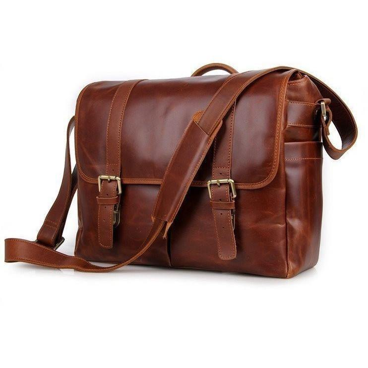 DSLR Camera 13-inch Laptop Bag Leather Vintage Gift for Him Her - Clean Vintage
