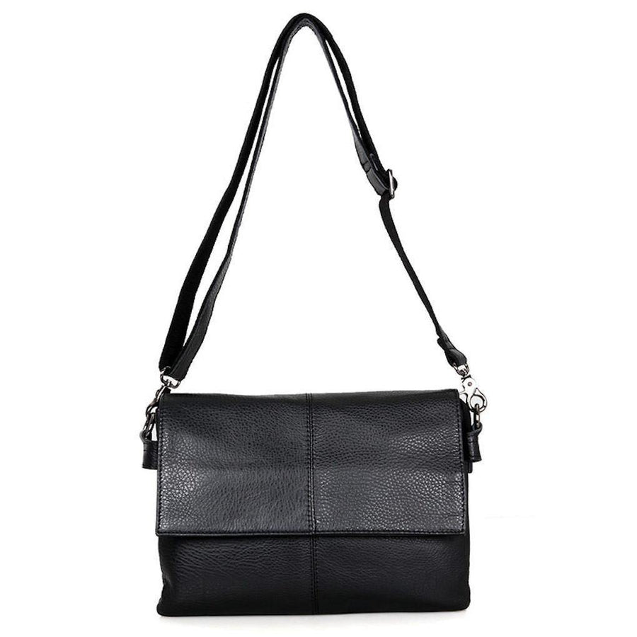 Unisex leather messenger sling bag- black, cowhide leather- Clean Vintage