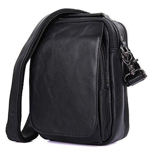 Clean Vintage Leather Sling Messenger Multi pockets Bag- Day Pack Travel Tablet Bag