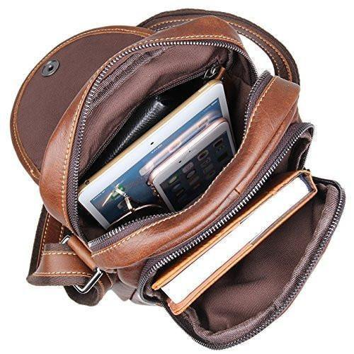 Mens Leather Work Bag Travel Cross Body Shoulder Sling Small Messenger Bag