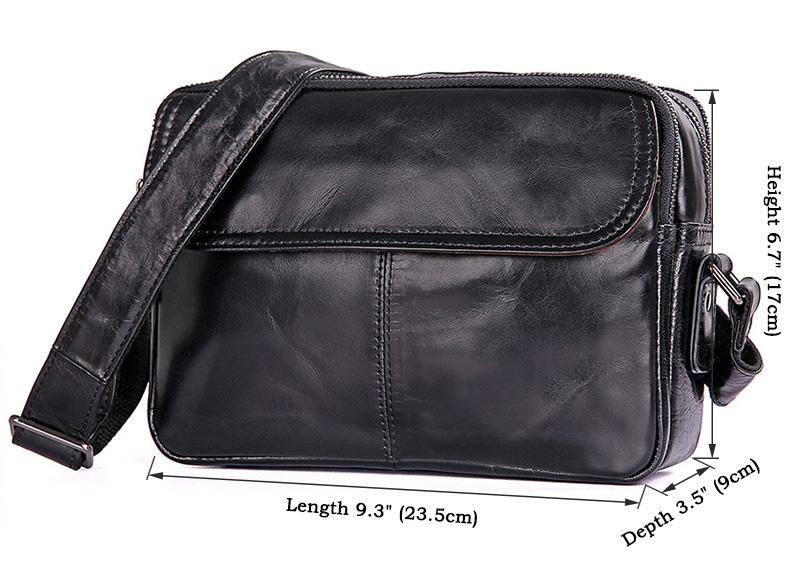 Small Black Leather Bag, Carry-All Messenger Bag- Day Pack Travel- Fits iPad Mini, Clean Vintage